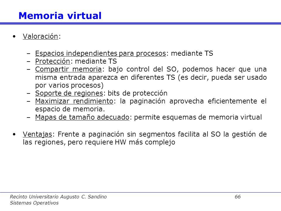 Recinto Universitario Augusto C. Sandino 65 Sistemas Operativos Memoria virtual Traducción:La traducción se lleva a cabo según se indica.