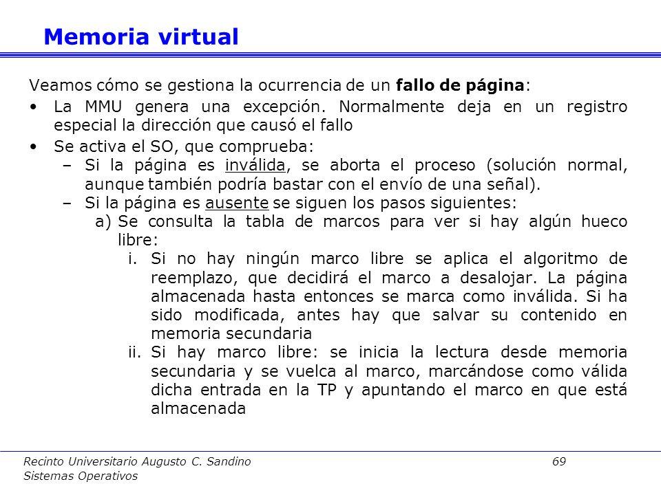 Recinto Universitario Augusto C. Sandino 68 Sistemas Operativos La construcción de un sistema de memoria virtual sobre un procesador con paginación im