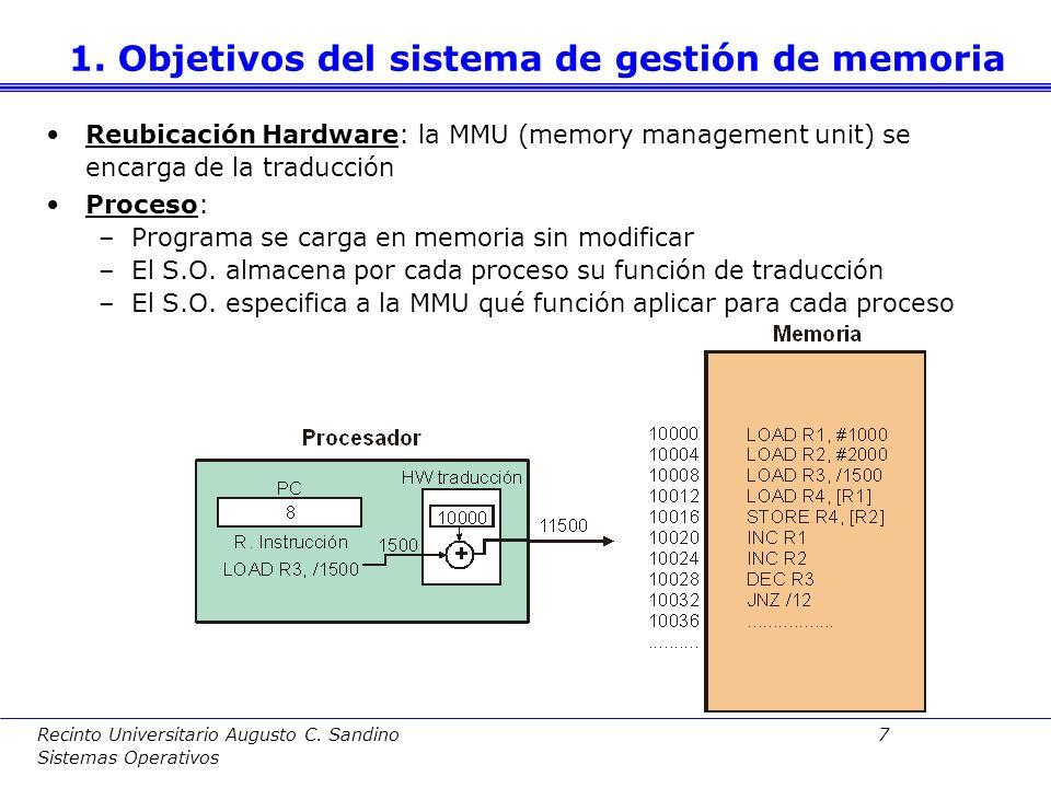 Recinto Universitario Augusto C. Sandino 6 Sistemas Operativos Reubicación: Traducir direcciones lógicas a direcciones físicas dependientes del hardwa