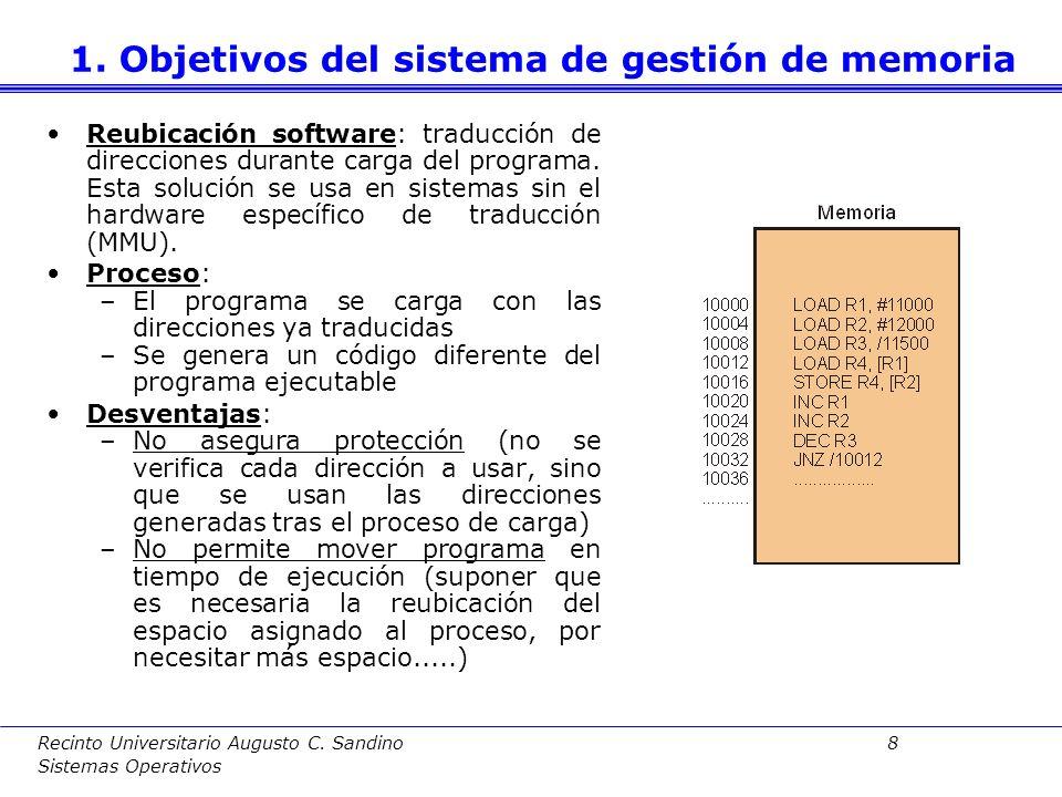 Recinto Universitario Augusto C. Sandino 7 Sistemas Operativos Reubicación Hardware: la MMU (memory management unit) se encarga de la traducción Proce