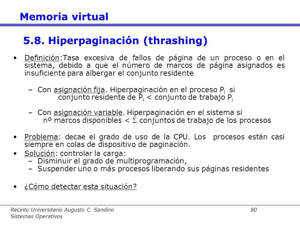 Recinto Universitario Augusto C. Sandino 79 Sistemas Operativos El número de marcos asignados a un proceso es variable dependiendo del comportamiento