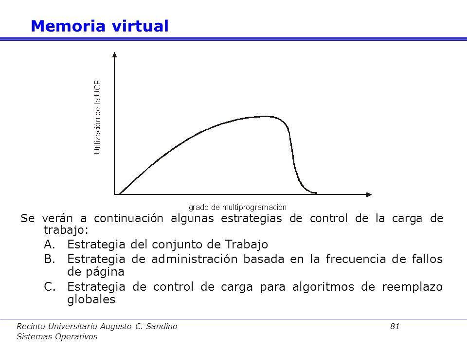 Recinto Universitario Augusto C. Sandino 80 Sistemas Operativos Definición:Tasa excesiva de fallos de página de un proceso o en el sistema, debido a q