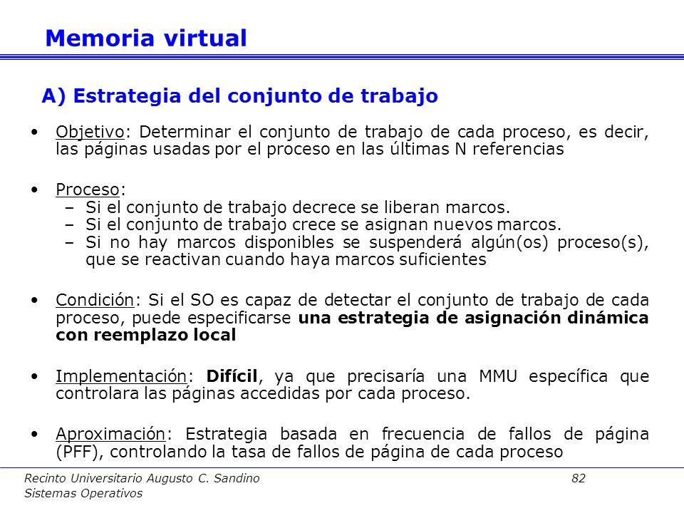 Recinto Universitario Augusto C. Sandino 81 Sistemas Operativos Se verán a continuación algunas estrategias de control de la carga de trabajo: A.Estra