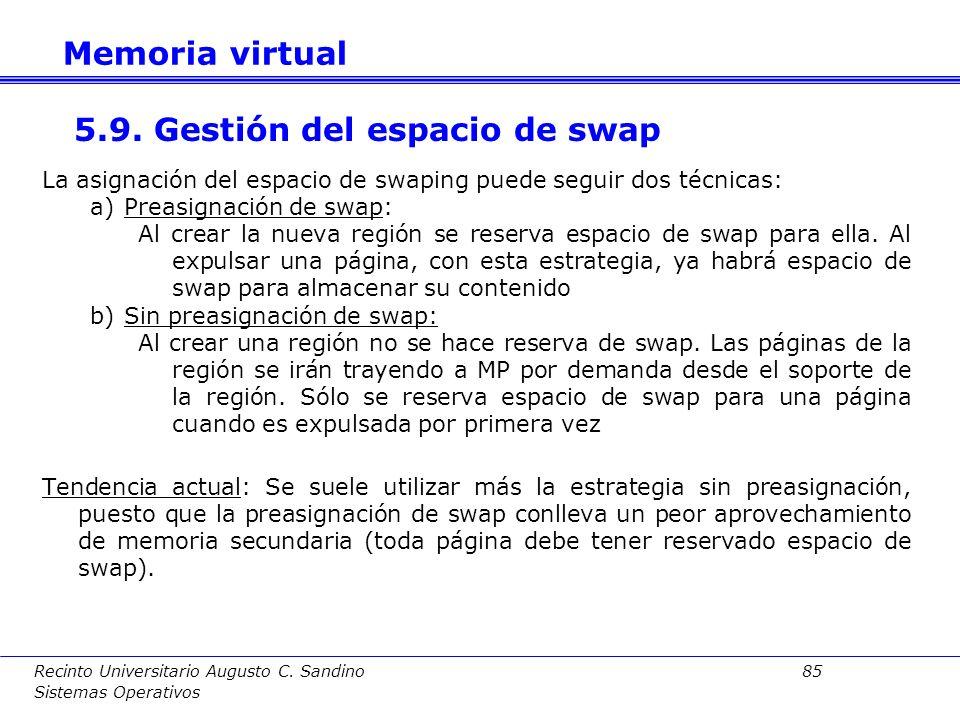 Recinto Universitario Augusto C. Sandino 84 Sistemas Operativos Objetivo: Controlar la hiperpaginación utilizando un algoritmo de control de carga. Se