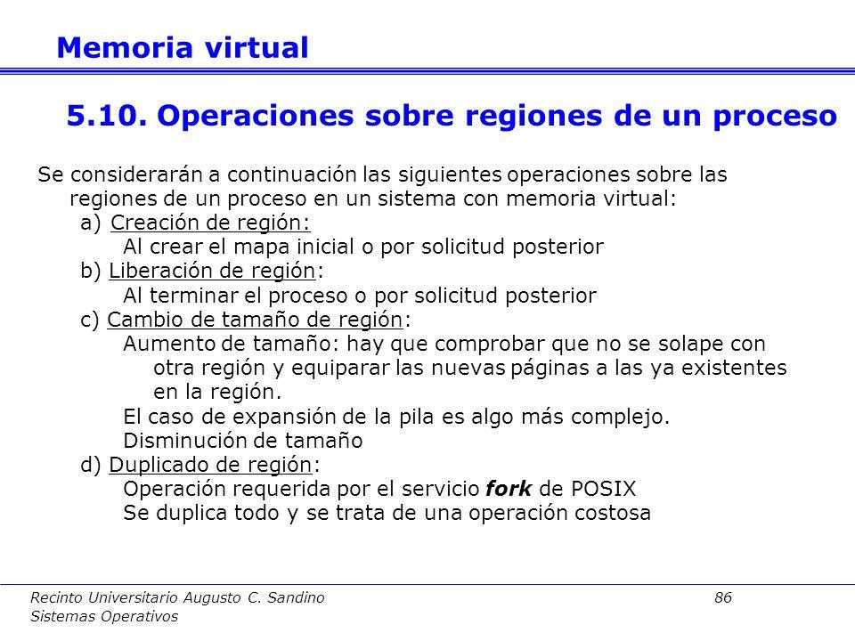 Recinto Universitario Augusto C. Sandino 85 Sistemas Operativos La asignación del espacio de swaping puede seguir dos técnicas: a)Preasignación de swa