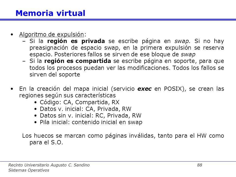 Recinto Universitario Augusto C. Sandino 87 Sistemas Operativos a)Creación de nueva región Acciones: Al crear una región no se asigna MP ( se hará por