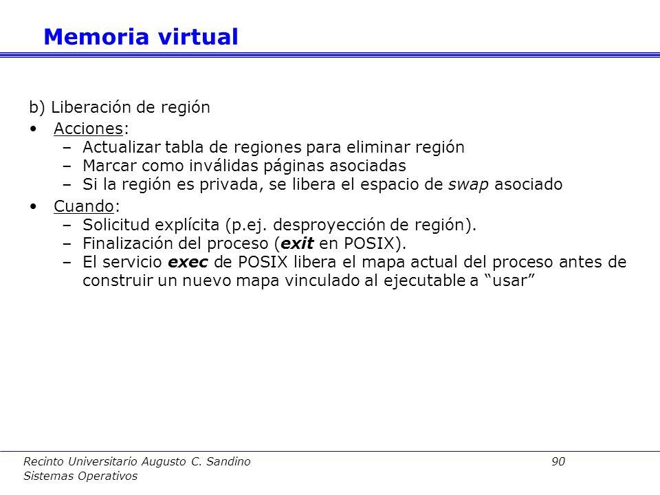 Recinto Universitario Augusto C. Sandino 89 Sistemas Operativos Estado inicial de ejecución en un sistema sin preasignación de swap Memoria virtual