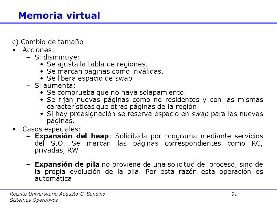 Recinto Universitario Augusto C. Sandino 90 Sistemas Operativos b) Liberación de región Acciones: –Actualizar tabla de regiones para eliminar región –