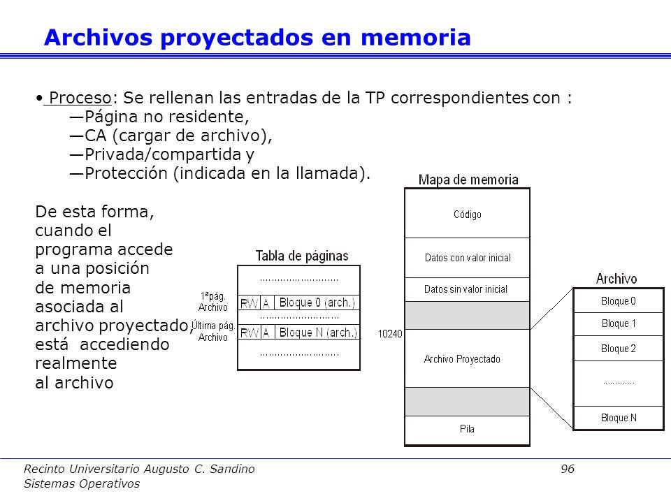 Recinto Universitario Augusto C. Sandino 95 Sistemas Operativos ¿En qué consiste? –Recordemos que en un sistema con MV se hacen corresponder las entra