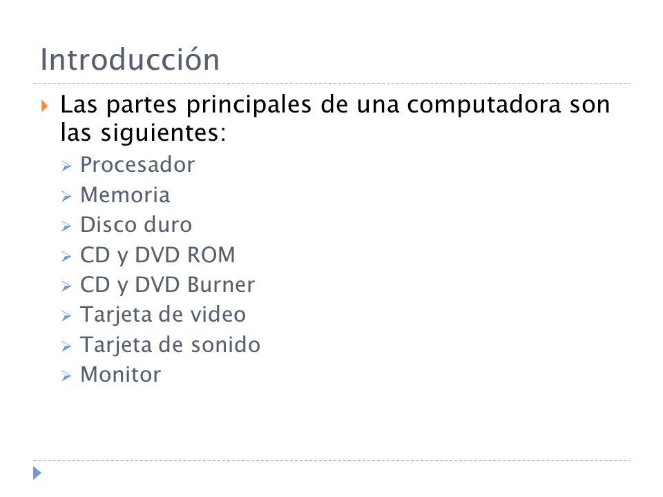 Introducción Las partes principales de una computadora son las siguientes: Procesador Memoria Disco duro CD y DVD ROM CD y DVD Burner Tarjeta de video