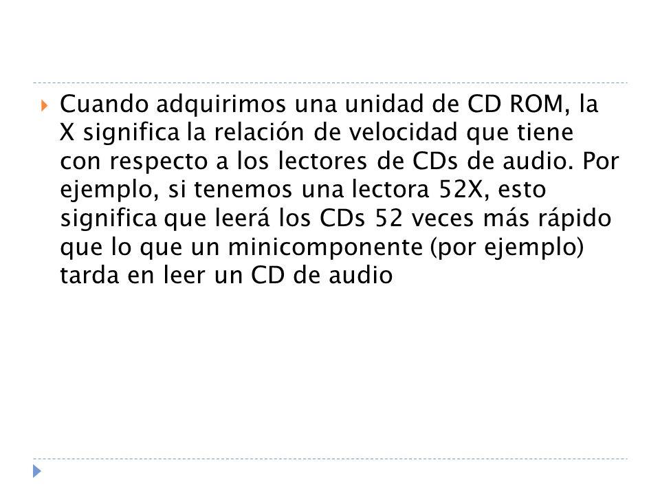 Cuando adquirimos una unidad de CD ROM, la X significa la relación de velocidad que tiene con respecto a los lectores de CDs de audio. Por ejemplo, si