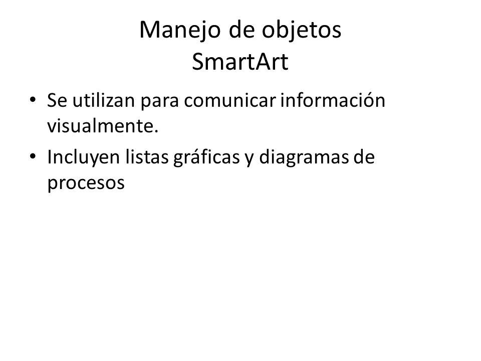 Manejo de objetos SmartArt Se utilizan para comunicar información visualmente. Incluyen listas gráficas y diagramas de procesos