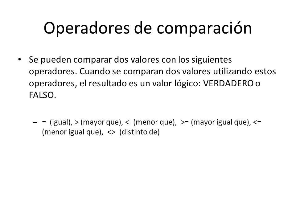 Operadores de comparación Se pueden comparar dos valores con los siguientes operadores. Cuando se comparan dos valores utilizando estos operadores, el