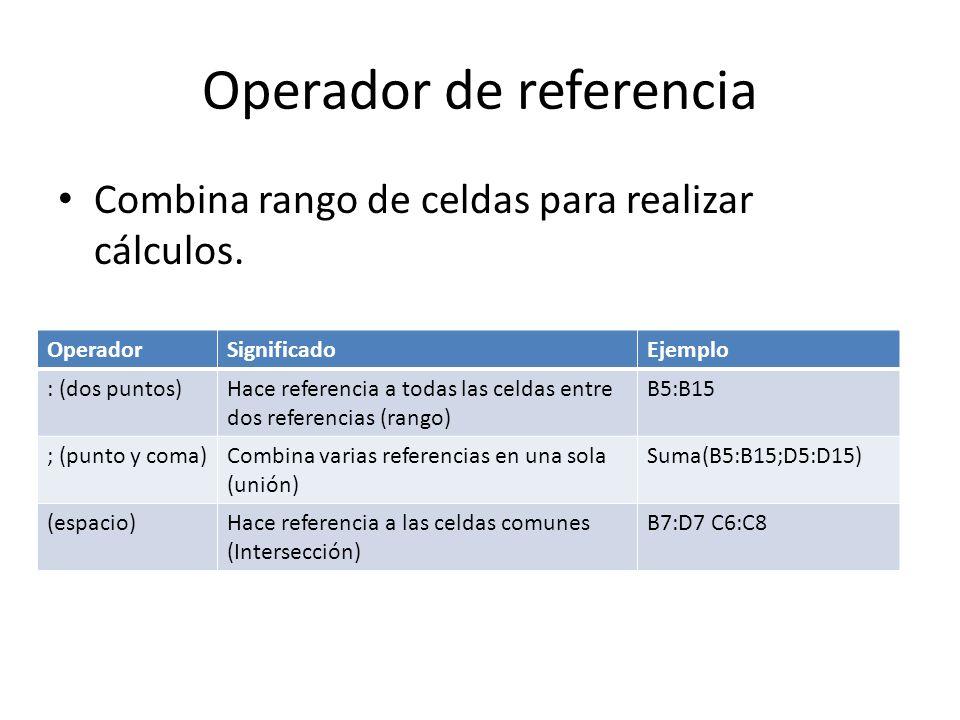 Operador de referencia Combina rango de celdas para realizar cálculos. OperadorSignificadoEjemplo : (dos puntos)Hace referencia a todas las celdas ent