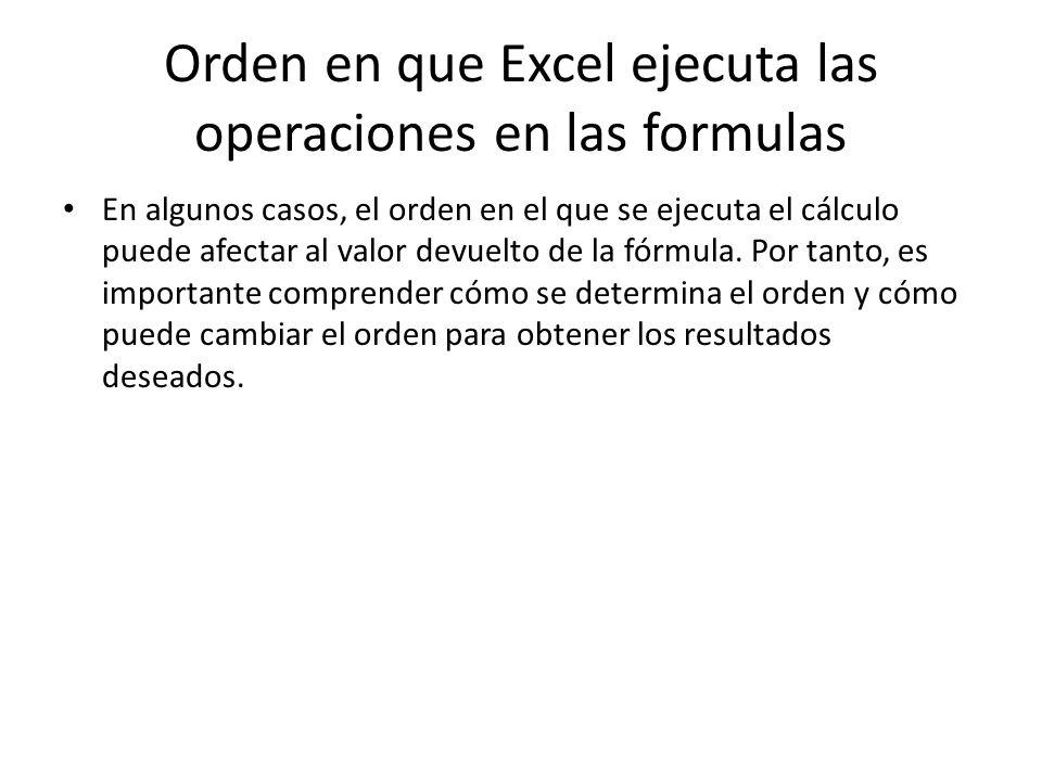 Orden en que Excel ejecuta las operaciones en las formulas En algunos casos, el orden en el que se ejecuta el cálculo puede afectar al valor devuelto