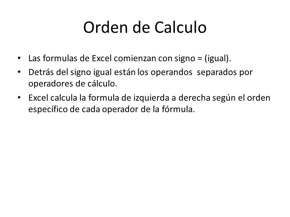 Orden de Calculo Las formulas de Excel comienzan con signo = (igual). Detrás del signo igual están los operandos separados por operadores de cálculo.