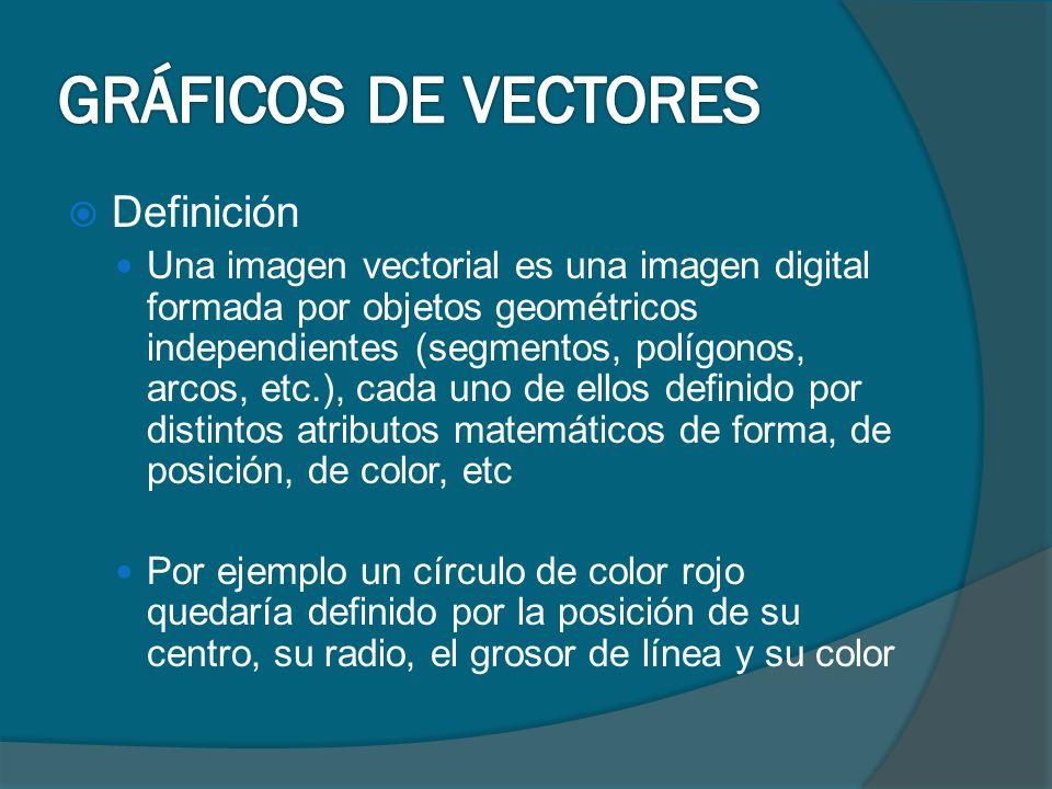 Definición Una imagen vectorial es una imagen digital formada por objetos geométricos independientes (segmentos, polígonos, arcos, etc.), cada uno de