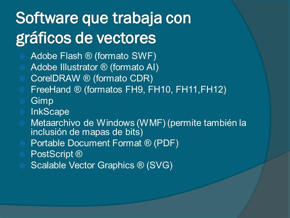 Adobe Flash ® (formato SWF) Adobe Illustrator ® (formato AI) CorelDRAW ® (formato CDR) FreeHand ® (formatos FH9, FH10, FH11,FH12) Gimp InkScape Metaar