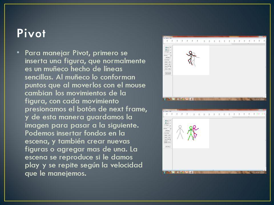 Para manejar Pivot, primero se inserta una figura, que normalmente es un muñeco hecho de líneas sencillas. Al muñeco lo conforman puntos que al moverl