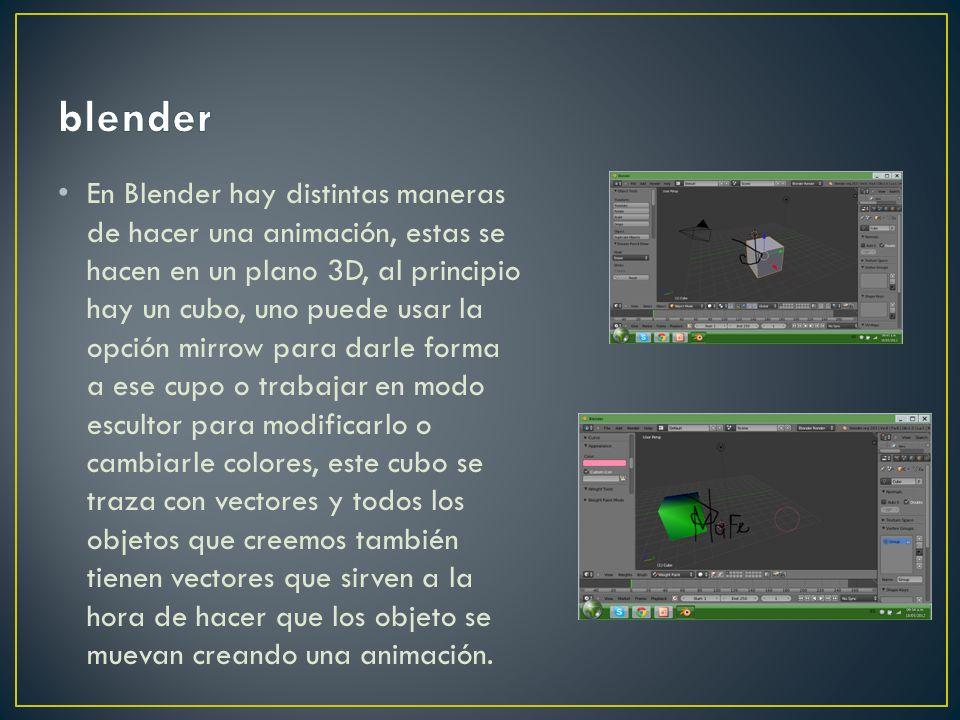 En Blender hay distintas maneras de hacer una animación, estas se hacen en un plano 3D, al principio hay un cubo, uno puede usar la opción mirrow para