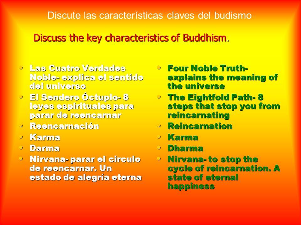 Discuss the key characteristics of Buddhism.
