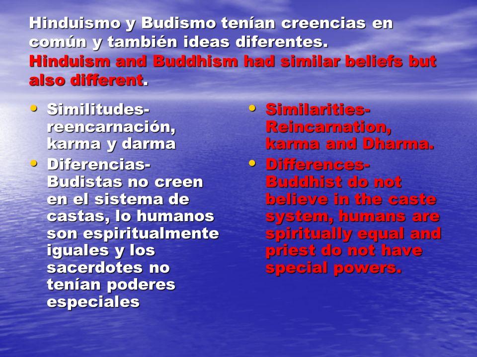 Hinduismo y Budismo tenían creencias en común y también ideas diferentes.