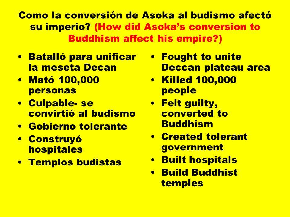 Como la conversión de Asoka al budismo afectó su imperio.