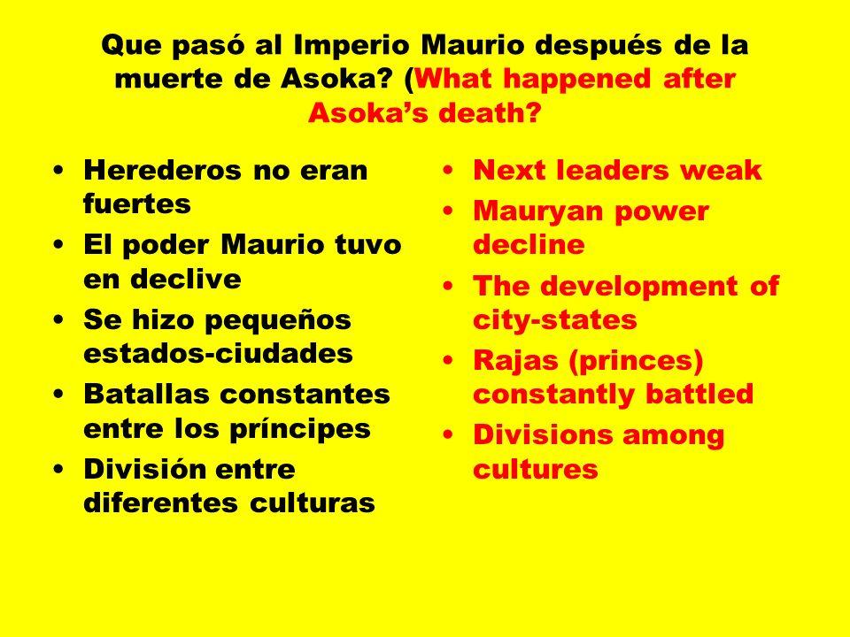Que pasó al Imperio Maurio después de la muerte de Asoka.