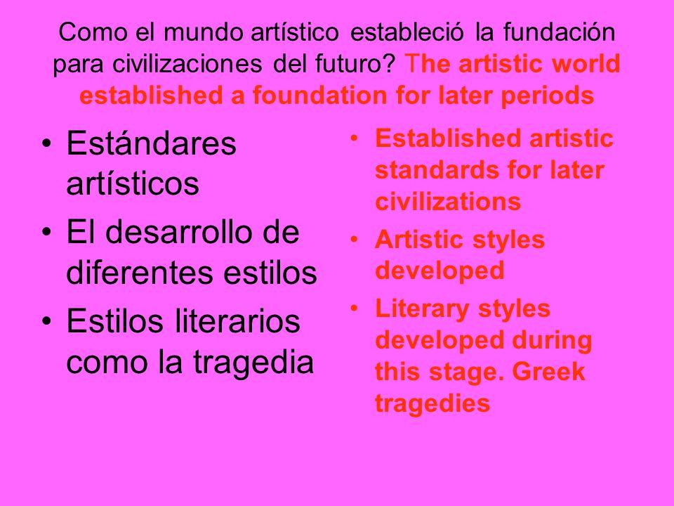 Como el mundo artístico estableció la fundación para civilizaciones del futuro? The artistic world established a foundation for later periods Estándar