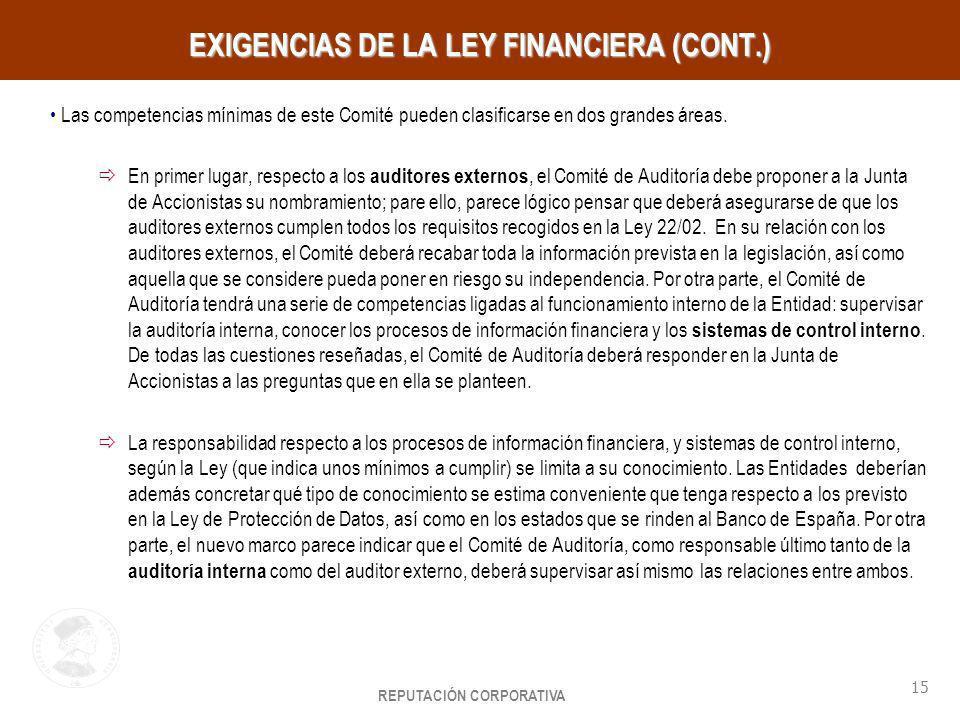 REPUTACIÓN CORPORATIVA 15 HayGroup EXIGENCIAS DE LA LEY FINANCIERA (CONT.) Las competencias mínimas de este Comité pueden clasificarse en dos grandes