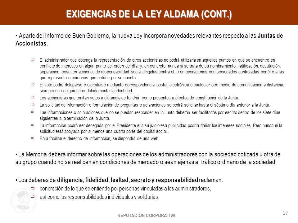 REPUTACIÓN CORPORATIVA 17 HayGroup EXIGENCIAS DE LA LEY ALDAMA (CONT.) Aparte del Informe de Buen Gobierno, la nueva Ley incorpora novedades relevante