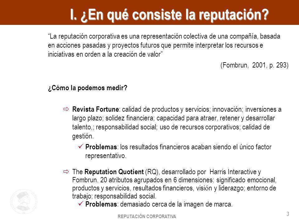 REPUTACIÓN CORPORATIVA 3 HayGroup I. ¿En qué consiste la reputación? La reputación corporativa es una representación colectiva de una compañía, basada