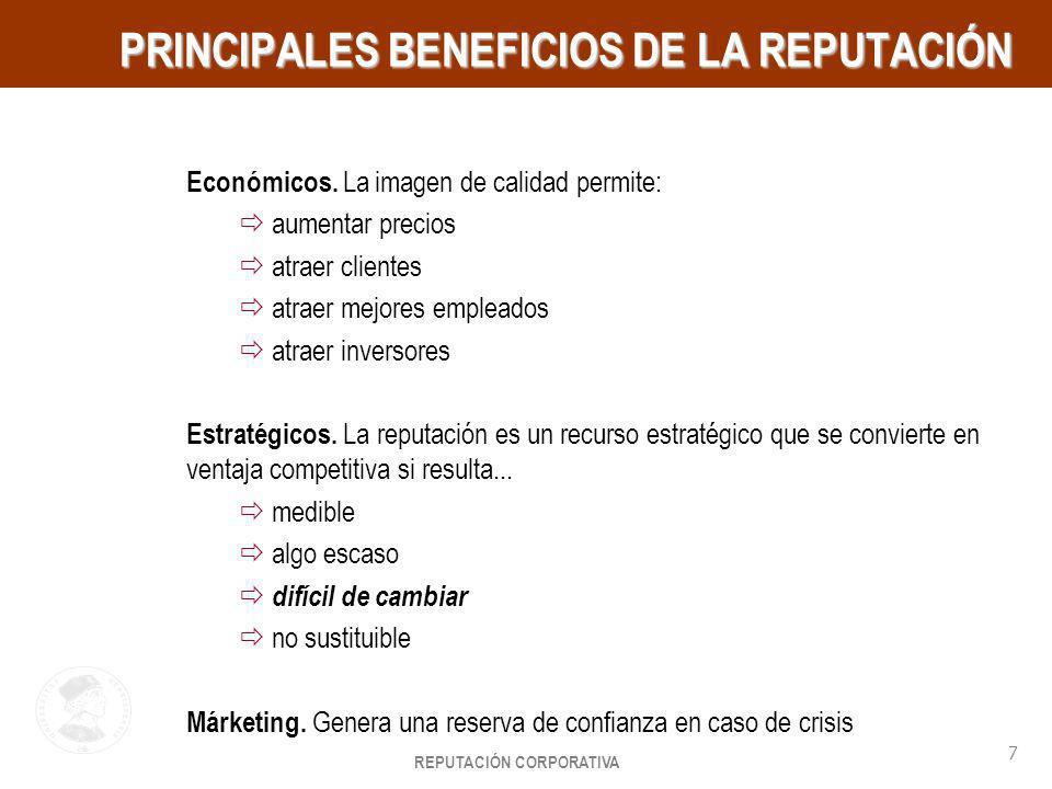 REPUTACIÓN CORPORATIVA 7 HayGroup PRINCIPALES BENEFICIOS DE LA REPUTACIÓN Económicos. La imagen de calidad permite: aumentar precios atraer clientes a