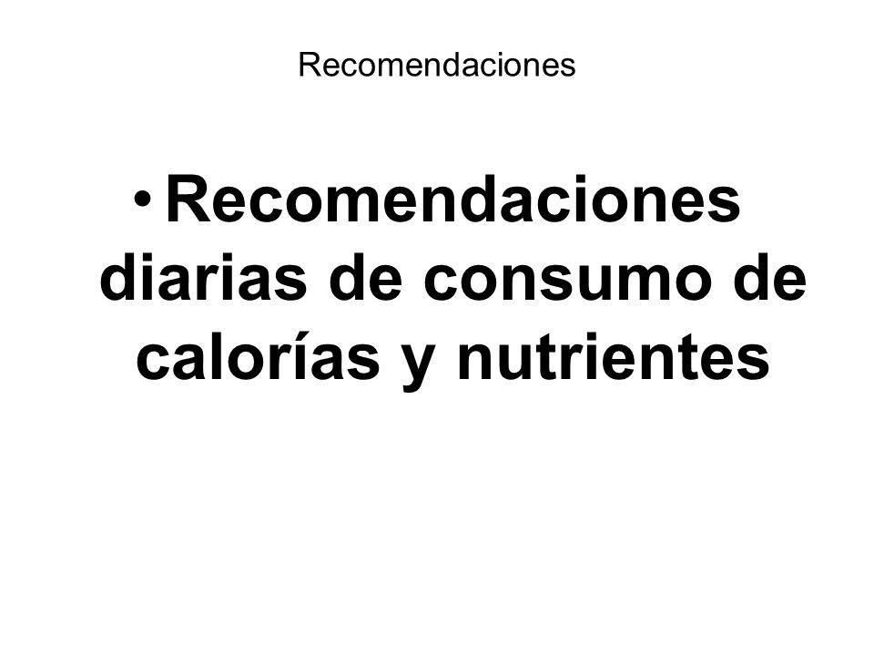 Recomendaciones Recomendaciones diarias de consumo de calorías y nutrientes