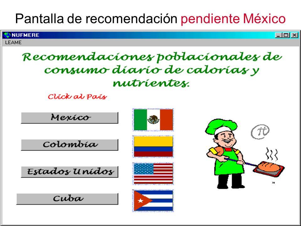Pantalla de recomendación pendiente México