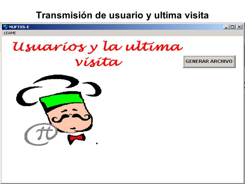 Transmisión de usuario y ultima visita