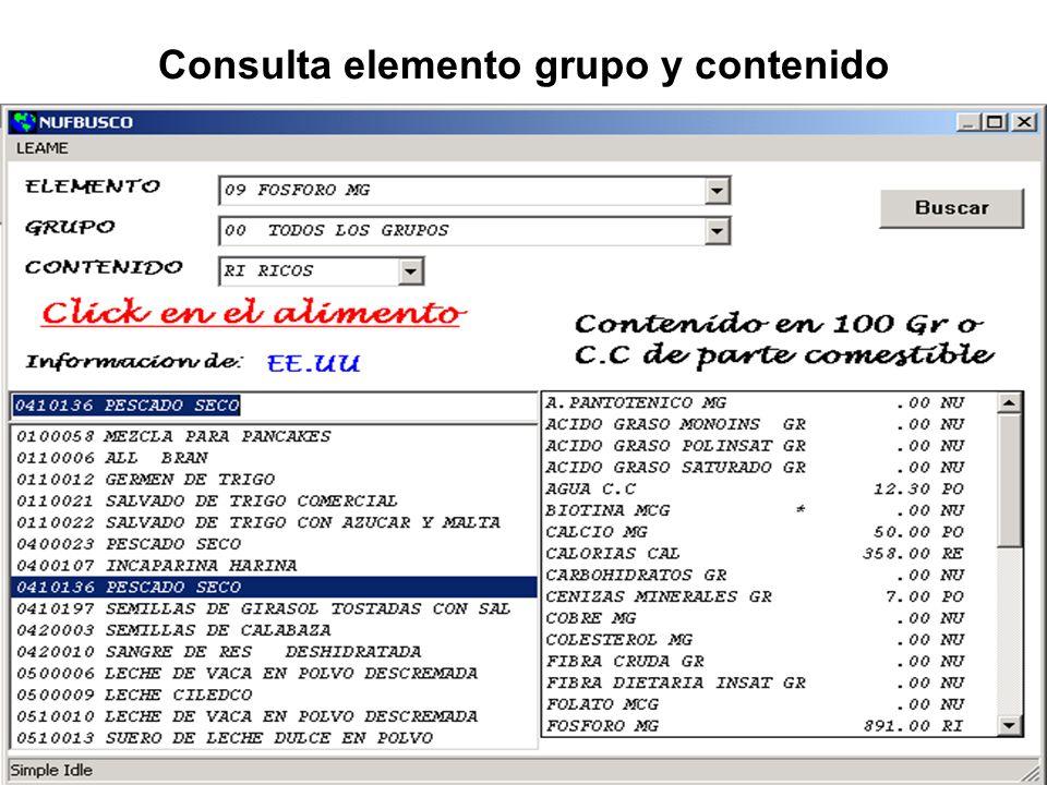 Consulta elemento grupo y contenido