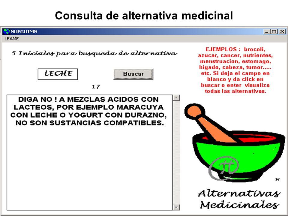 Consulta de alternativa medicinal