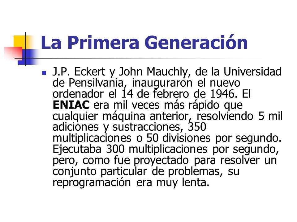 La Primera Generación J.P. Eckert y John Mauchly, de la Universidad de Pensilvania, inauguraron el nuevo ordenador el 14 de febrero de 1946. El ENIAC