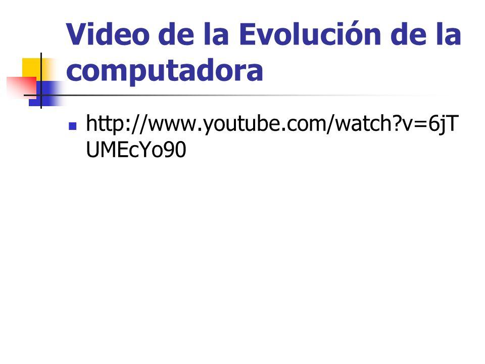 Video de la Evolución de la computadora http://www.youtube.com/watch?v=6jT UMEcYo90