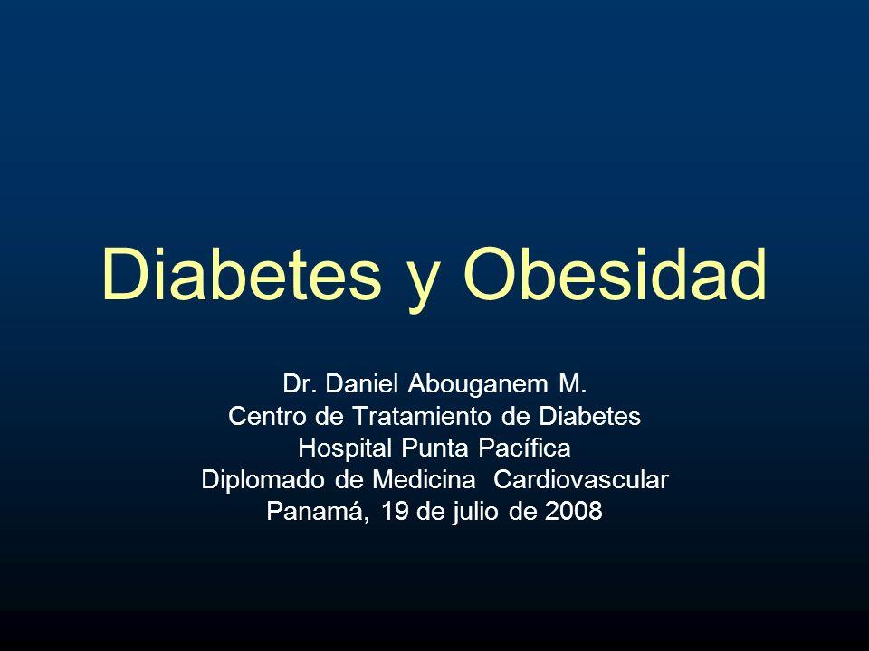 OBESIDAD Diabetes y ECVLa obesidad abdominal se ha convertido en un factor de riesgo independiente importante para Diabetes y ECV Puede exacerbar otros factores de riesgo: –Hipertensión –Dislipidemia –Insulino resistencia –Inflamación vascular