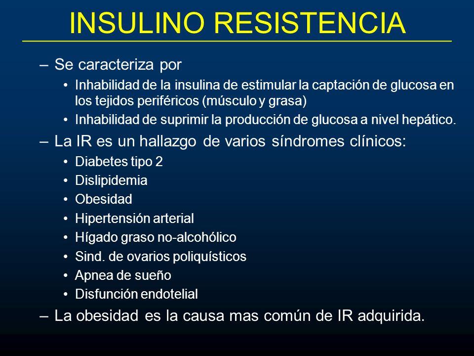 INSULINO RESISTENCIA –Se caracteriza por Inhabilidad de la insulina de estimular la captación de glucosa en los tejidos periféricos (músculo y grasa)
