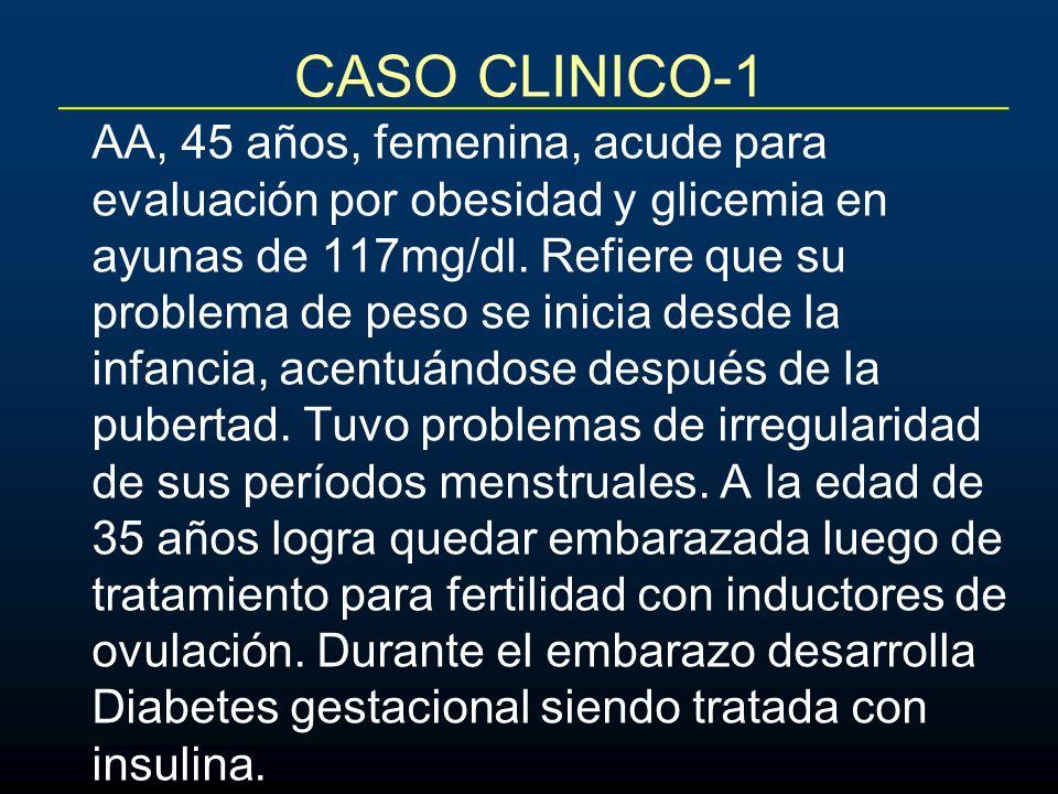 CASO CLINICO-1 AA, 45 años, femenina, acude para evaluación por obesidad y glicemia en ayunas de 117mg/dl. Refiere que su problema de peso se inicia d