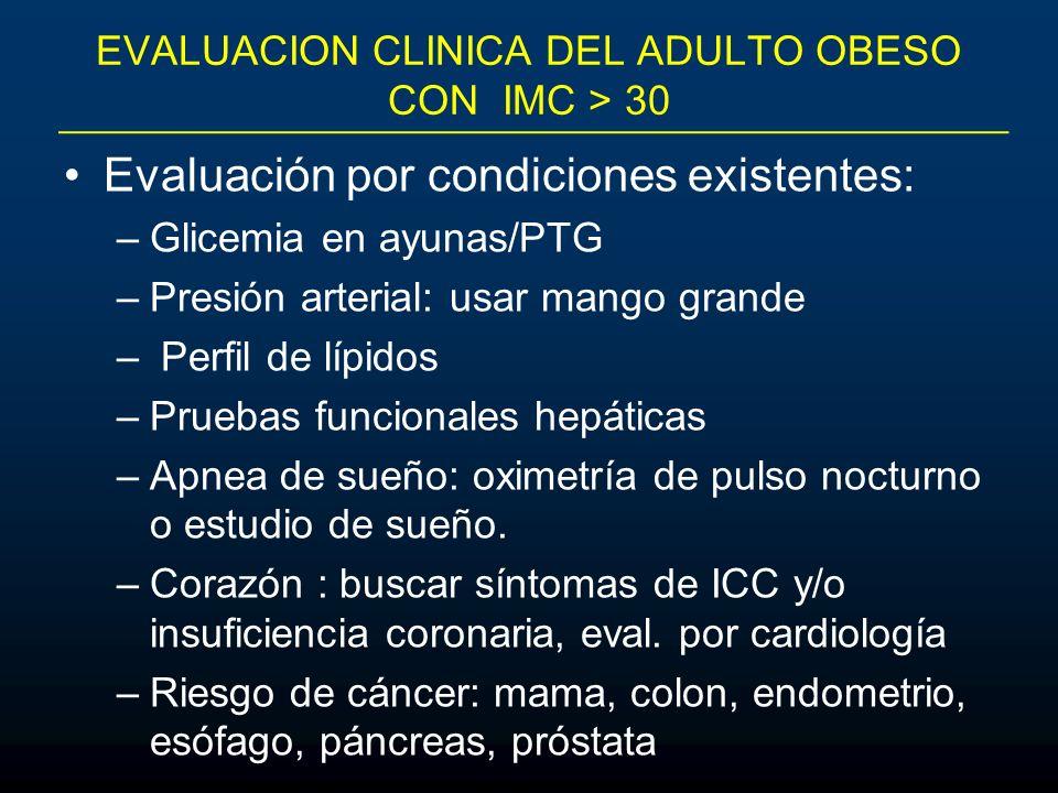 EVALUACION CLINICA DEL ADULTO OBESO CON IMC > 30 Evaluación por condiciones existentes: –Glicemia en ayunas/PTG –Presión arterial: usar mango grande –