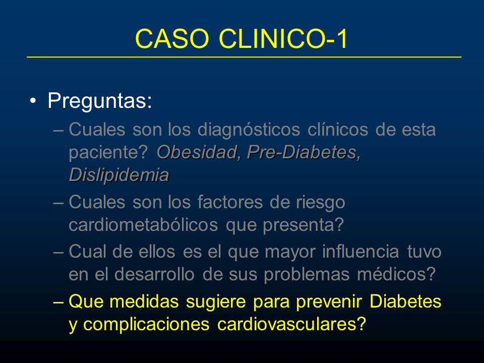 CASO CLINICO-1 Preguntas: Obesidad, Pre-Diabetes, Dislipidemia –Cuales son los diagnósticos clínicos de esta paciente? Obesidad, Pre-Diabetes, Dislipi