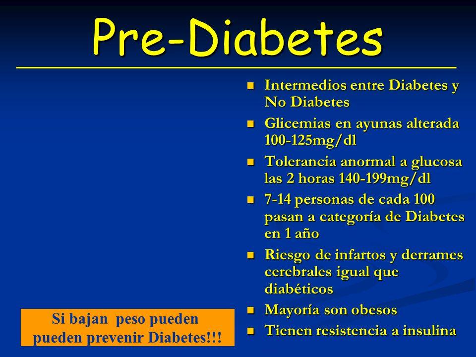 Pre-Diabetes Intermedios entre Diabetes y No Diabetes Glicemias en ayunas alterada 100-125mg/dl Tolerancia anormal a glucosa las 2 horas 140-199mg/dl