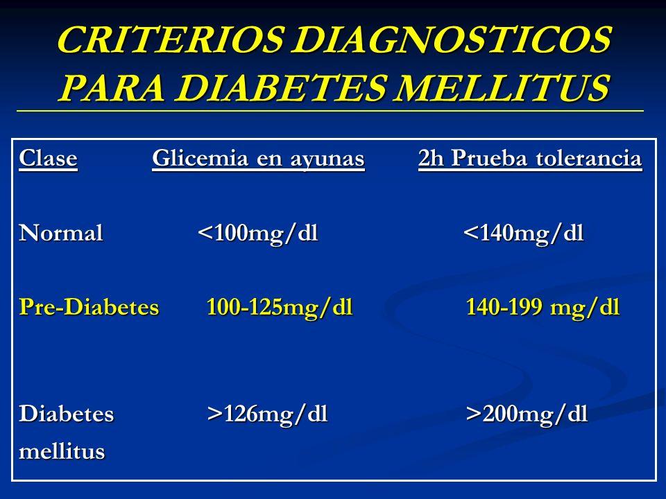 CRITERIOS DIAGNOSTICOS PARA DIABETES MELLITUS ClaseGlicemia en ayunas2h Prueba tolerancia Normal <100mg/dl <140mg/dl Pre-Diabetes 100-125mg/dl 140-199