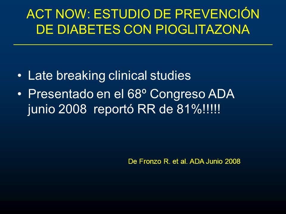ACT NOW: ESTUDIO DE PREVENCIÓN DE DIABETES CON PIOGLITAZONA Late breaking clinical studies Presentado en el 68º Congreso ADA junio 2008 reportó RR de