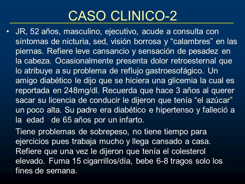 CASO CLINICO-2 JR, 52 años, masculino, ejecutivo, acude a consulta con síntomas de nicturia, sed, visión borrosa y calambres en las piernas. Refiere l