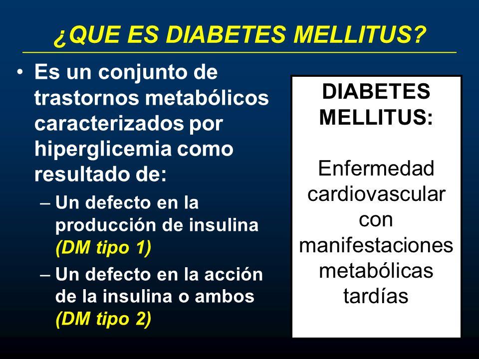 ¿QUE ES DIABETES MELLITUS? Es un conjunto de trastornos metabólicos caracterizados por hiperglicemia como resultado de: –Un defecto en la producción d